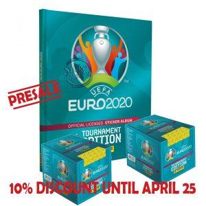 HARDCOVER ALBUM + 2 SEALED BOXES x 50 ENVELOPES EURO 2020 – PANINI
